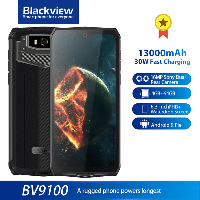 Blackview BV9100 IP68 Rugged 6.3 FHD+ 13000mAh Smartphone 4GB 64GB Helio P35 Octa Core Android9.0 Mobile Phone 30W Fast Charge