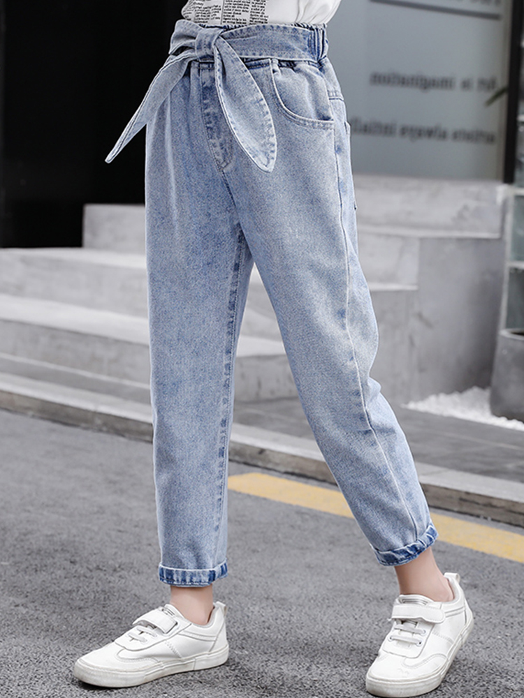 Girls Jeans Pants Fashion Autumn 12-14-Year Casual 10 8 Spring 6 Solid Bow