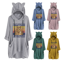 Knitted fashion modern ladies sweater, autumn and winter leisure sports hooded sweater with pockets, cute that
