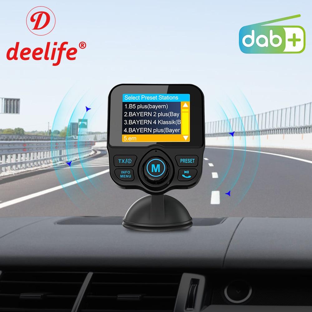 Deelife Car DAB+ Radio DAB Tuner Digital Audio Broadcasting Receiver with FM Transmitter AUX Adapter Handsfree Bluetooth Car Kit