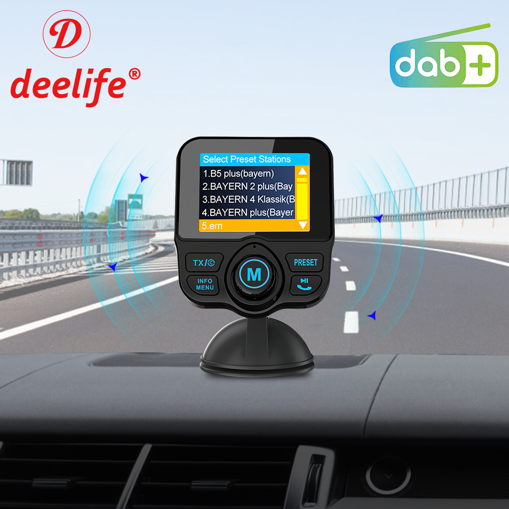 Deelife Car DAB+ Radio DAB Tuner Digital Audio Broadcasting Receiver with FM Transmitter AUX Adapter Handsfree Bluetooth Car Kit title=