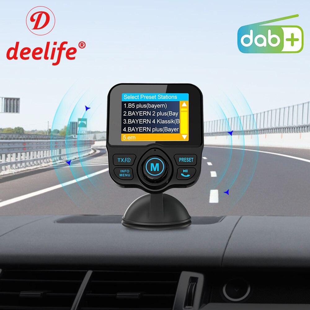 Deelife-récepteur numérique de radiodiffusion | DAB + Radio DAB, récepteur numérique Audio, avec transmetteur FM, adaptateur AUX, Bluetooth mains libres, Kit de voiture