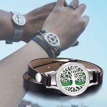 New Aroma Diffuser Bracelet Aromatherapy Essential Oil Diffuser Locket Bracelets Adjustable Genuine Leather Wrap Bracelet Women(China)