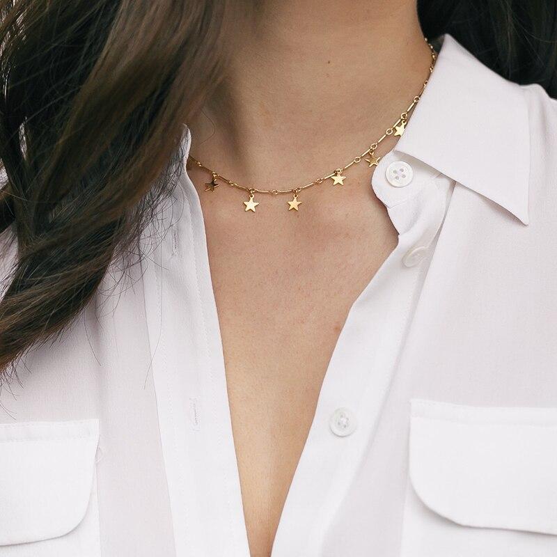 Collier étoile rempli d'or bijoux faits à la main Boho Choker pendentifs personnalisés minimalisme Collier Femme Kolye Collares femmes Collier