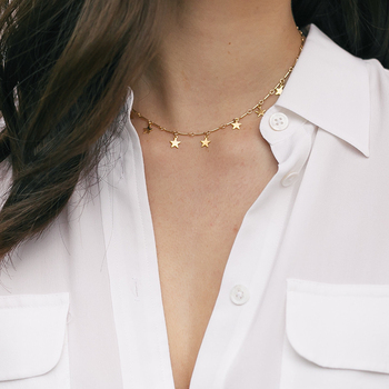 Gold Filled Star Necklace Handmade Jewelry Boho Choker Custom Pendants Minimalism Collier Femme Kolye Collares Women Necklace