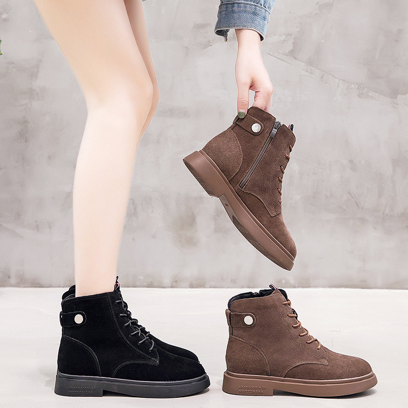 WOMEN'S Shoes 2019 Autumn And Winter New Style British-Style Chunky-Heel Short Boots Women's Elevator 6 Cm Genuine Leather Marti