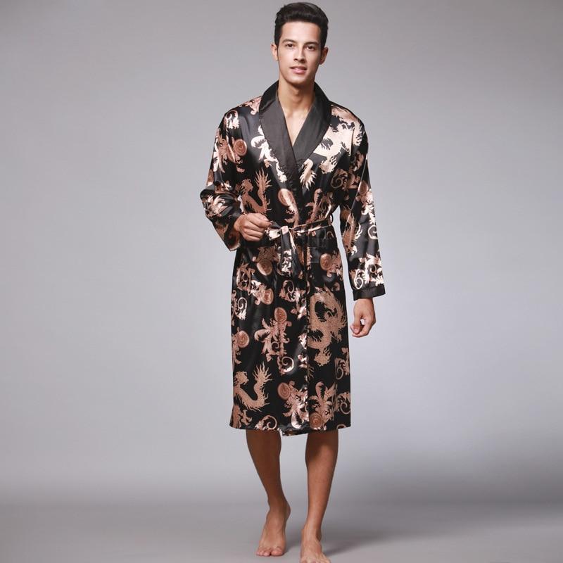 Men Silk Summer Autumn Satin Kimono Bathrobe Golden Dragon Knee Length Long Sleeve Sapphire Bath Robe Dressing Gown Sleepwear
