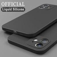 Funda de silicona líquida oficial a prueba de golpes para móvil, carcasa suave para iPhone 11 12 Pro Max Mini X XS XR 7 8 Plus SE 2 2020, caramelo