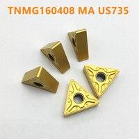50 pçs tnmg160404 ma us735 carboneto tnmg160408 ma us735 alta qualidade de gerencio metal tnmg160404 peças cnc torno máquina corte Ferr. torneam.     -
