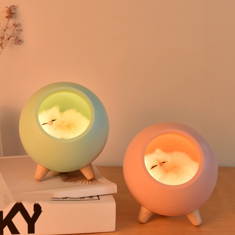 Student Cartoon Cat Nest Usb Charge Lovely Kitten House Atmosphere Lamp Originality  Led Bedside Small Night Light