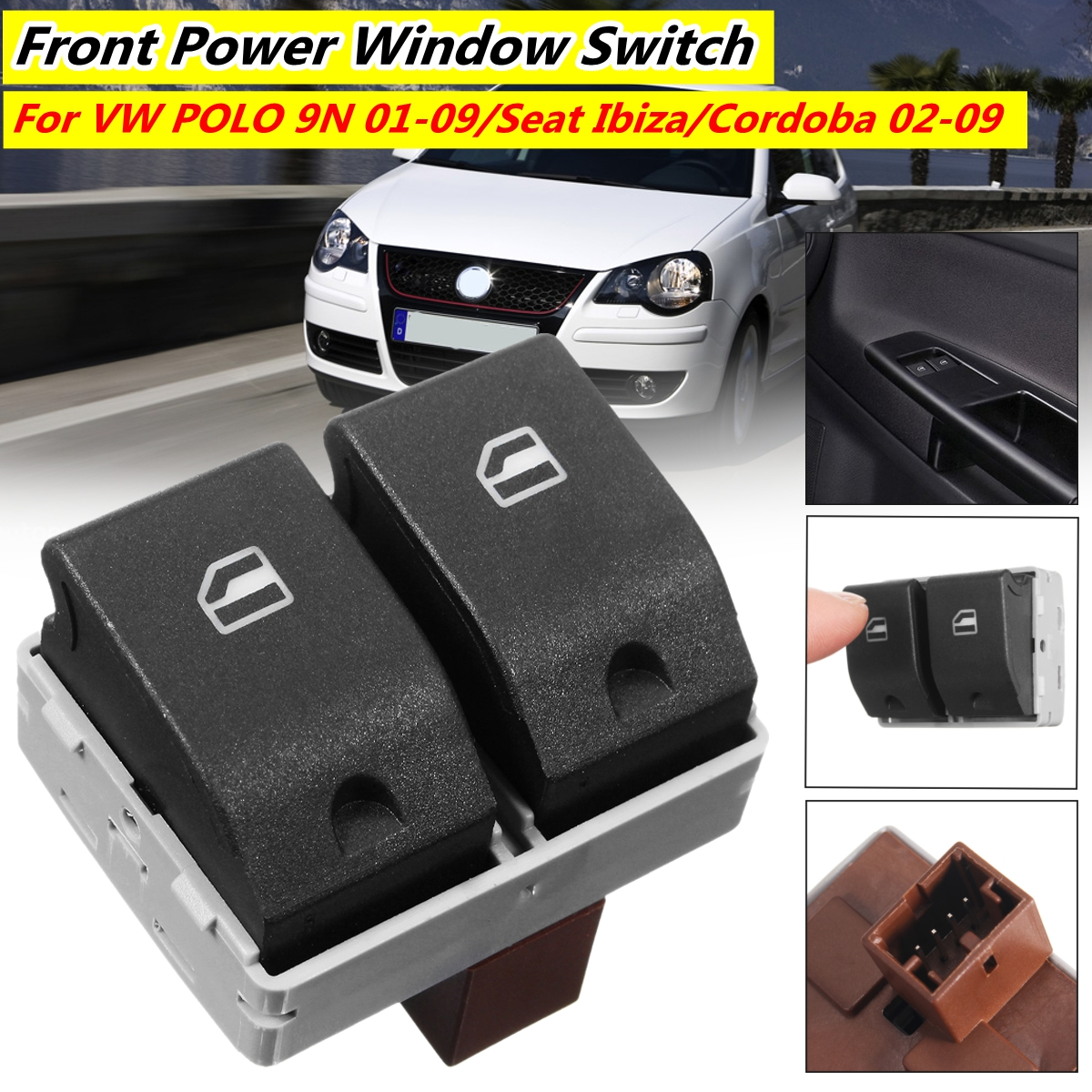 Electric Window Control Switch 4 Pin for VW Polo 2002-2009