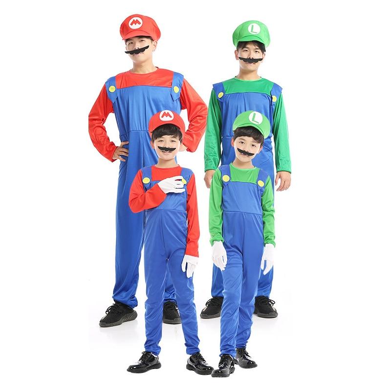 Cosplay Super Mario Costume Adult Kids Red Green MARIO LUIGI Jumpsuits Halloween Party Fantasia Uniform Game Girls Dress D1723CH