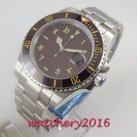 40mm Brown Sterile Dial Sapphire Glass Super Luminous no logo Top Luxury Brand Automatic movement men's Watc