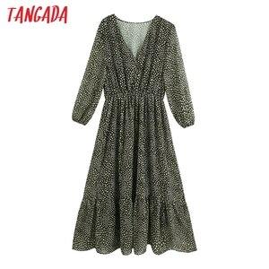 Tangada 2020 Autumn fashion women dots print shirt dress v neck elegant office ladies midi dress BE896