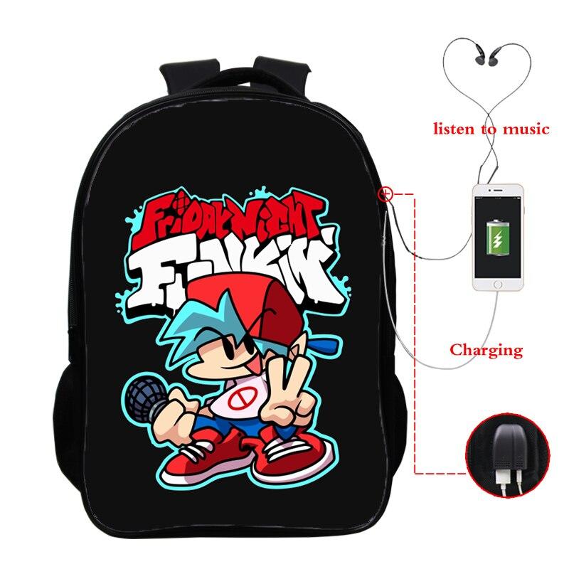 Usb Charging Backpacks Friday Night Funkin Backpacks Back To School Bookbag 16 Inch Teenager School Bags for Boys Girls Mochila
