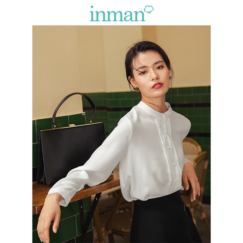 INMAN 2019 Autumn New Arrival Literary Elegant Stand Up Collar Plated Minimalism White Women Blouse