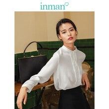 INMAN primavera Otoño Literario elegante Stand up Collar plateado minimalista blusa blanca de las mujeres