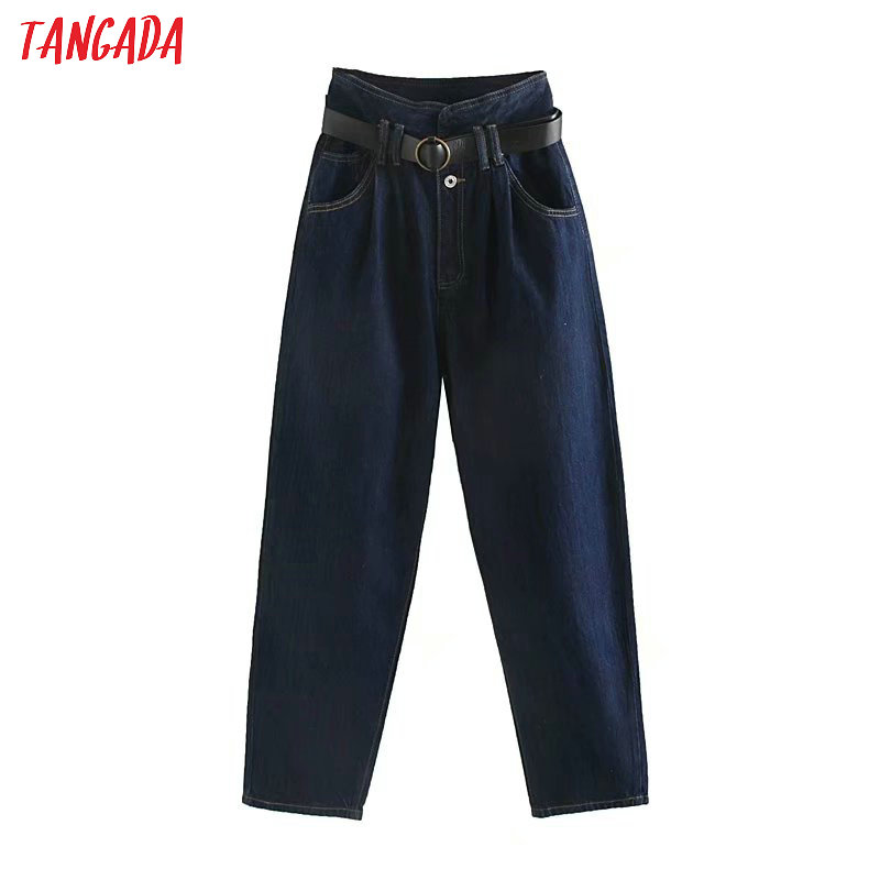 Tangada Women Casual Dark Blue Jeans Pants With Belt High Waist Pocket Trousers Stylish Denim Trousers 4M141