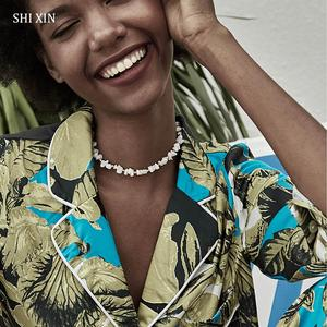 SHIXIN Natural Stone Necklace for Women Short Choker Necklaces Lady Fashion 2020 Checker Neck Chains Female Chocker Gifts Collar(China)
