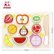 купить Kids Wooden Kitchen Toys Wooden Cutting Fruit Vegetable Mini Food Toy Pretend Play Children Play Kitchen Miniature Food дешево
