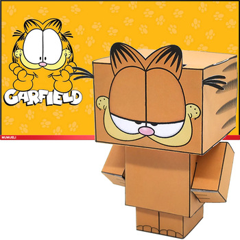 No-glue Garfield Cat Folding Cutting Cute Mini 3D Paper Model Papercraft Anime Figure DIY Cubee Kids Adult Craft Toys CS-037 image