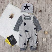 PatPat Cotton Casual Newborn 3 Piece Fashion Striped Long-sleeved T-shirt Bib and Hat Suit Suitable for Baby(China)