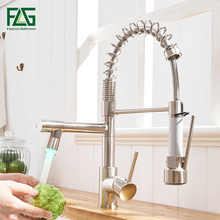 FLG Brushed Nickel Kitchen Faucets High Quality Brass Faucet Pull Out LED Kitchen Taps Hot and Cold Water Swivel Sink Mixer Tap