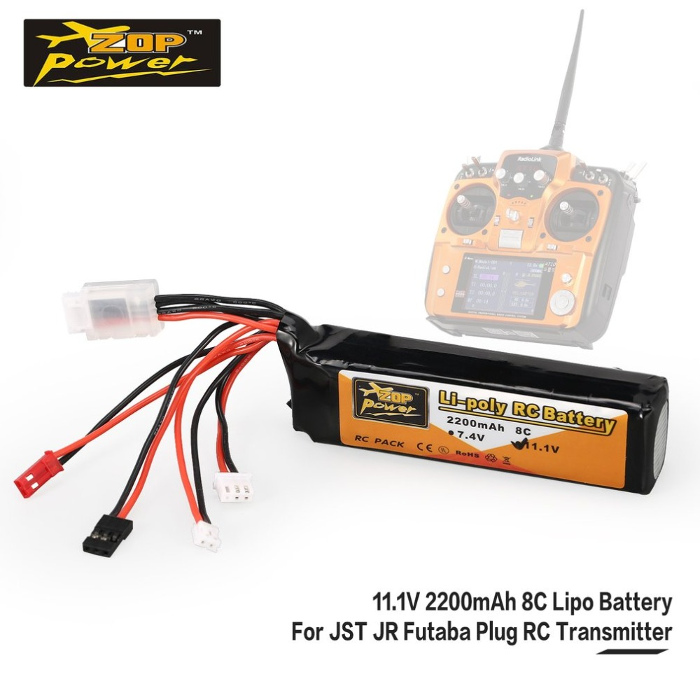 ZOP Power <font><b>11.1V</b></font> <font><b>2200mAh</b></font> 8C 3S 3S1P <font><b>Lipo</b></font> <font><b>Battery</b></font> JST JR Futaba Plug Rechargeable For RC Drone Helicopter Quadcopter Transmitter image