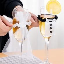 Decoración de mesa de boda vino tapa de taza de cristal novia novio traje de cristal DIY Novia a ser nupcial ducha despedida de soltera fiesta Decoración