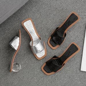 Image 5 - Pzilae 2020 women summer slippers crystal geometric heel black silver sandals square toe ball heel slide sandalias mujer