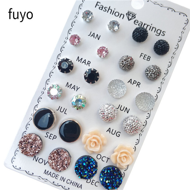 12 pairs/set Crystal Fashion Earrings Set Women Jewelry Accessories Piercing Ball Stud Earring kit Bijouteria brincos New 2019 1