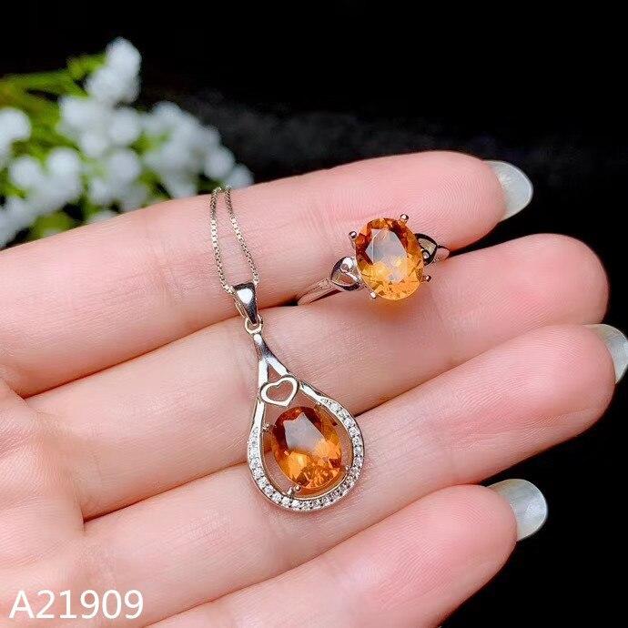 KJJEAXCMY boutique bijoux 925 en argent sterling incrusté naturel citrine pierre gemme femme pendentif collier anneau set support détection