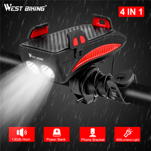 WEST BIKING Multifunction 4 IN 1 Bike Light  400 Lumens Flashlight Horn Phone Holder Power Bank Bicycle Front