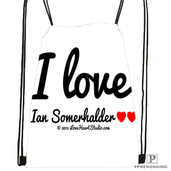 Custom Ian-Somerhalder-Lost-Reunion Drawstring Backpack Bag Cute Daypack Kids Satchel (Black Back) 31x40cm#180611-03-102