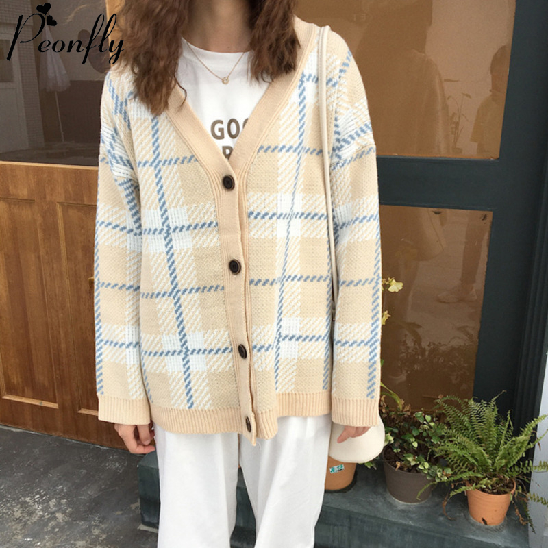 PEONFLY Korean Style Plaid Printed Knitted Cardigan Loose Casual Fashion 2020 Spring Sweater Jumper Women Knitted Jackets