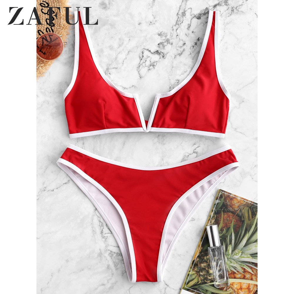 ZAFUL Sexy Contrast Piping V-Wired Bikini Swimsuit Removable Padded Women Swimwear Scoop Neck Elastic Wire Free Two-Piece Suits