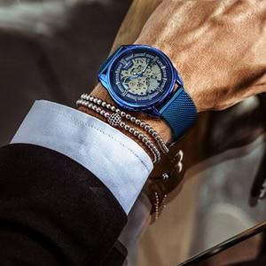 Image 5 - WINNER Official Mechanical Watch Men Blue Silver Mesh Strap Super Thin Case Skeleton Top Brand Luxury Classic Business Elegant