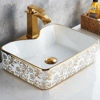 Juego de fregadero de cerámica artístico, lavabo de cerámica, encimera, grifo de baño, mezclador para lavabo Pop-Up