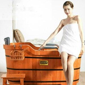 Image 2 - Di alta Qualità di Cedro Barile Vasca da bagno di Sicurezza di Supporto del Sedile Vasca Da Bagno Per Adulti Doccia Cuscino In Legno Massiccio Vasca da bagno
