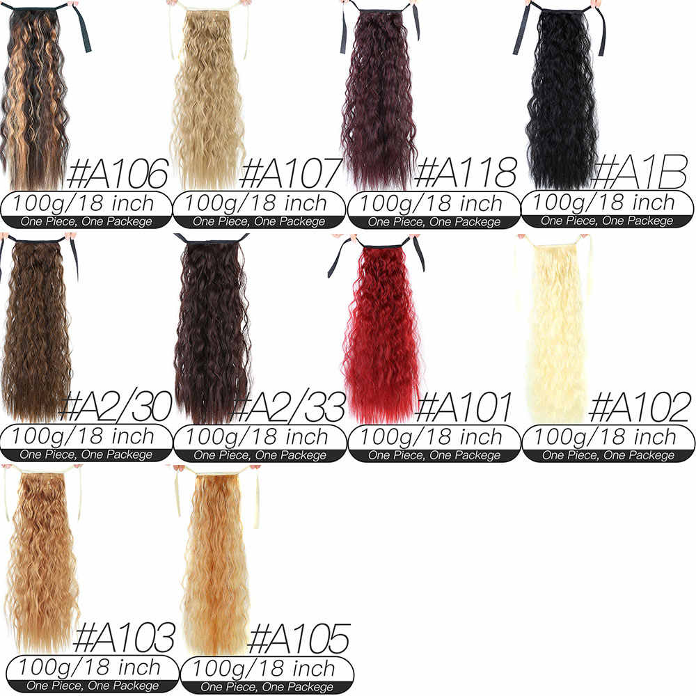 18 ''Afro długie perwersyjne kręcone sznurkiem kucyk klamra w koński ogon przedłużanie włosów Hairpiece żaroodporne włosy syntetyczne Bu