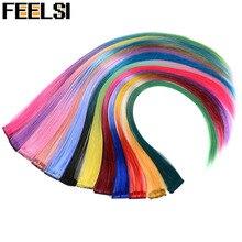 """FEELSI цветные хайлайтер синтетические волосы для наращивания клип в один кусок цветные полоски 2"""" длинные прямые волосы для любителей спорта"""