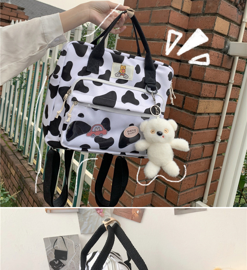 DCIMOR New Lovely Cow Spotted Women Backpack Female Suede Multi-function Travel Bag Transparent Front Pocket Small Schoolbag