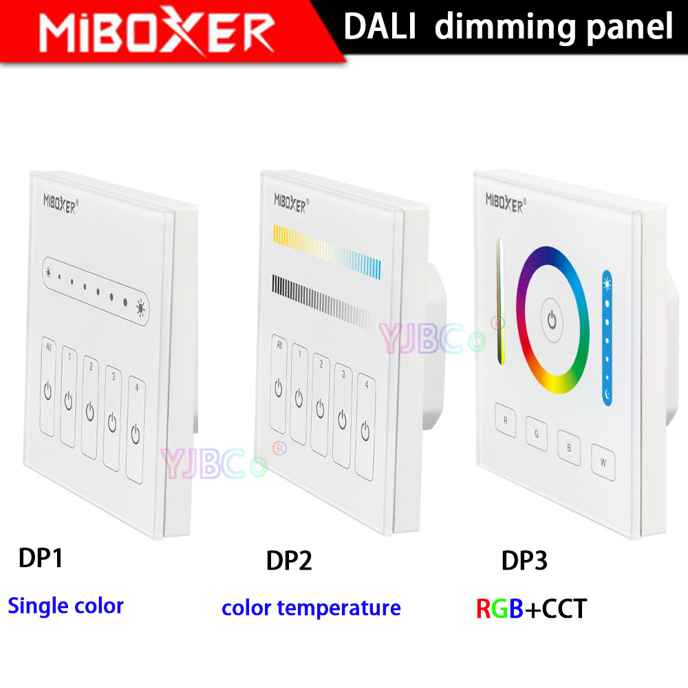 MiBOXER DALI 86 Touch Panel Single Color/CCT/RGB+CCT Dimming Smart Led Dimmer Controller DP1/DP2/DP3 For Led Strip Downlight