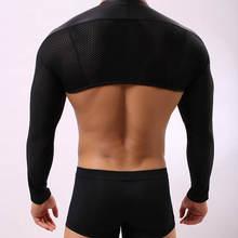 Мужская нарукавная рубашка из черной искусственной кожи с длинными рукавами, плотно прилегающее Мужское нижнее белье, облегающая нижняя рубашка