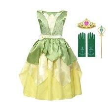 Платье Тиана для девочек; Костюм принцессы для костюмированной вечеринки; Одежда принцессы и лягушки; Детские вечерние бальные платья на де...