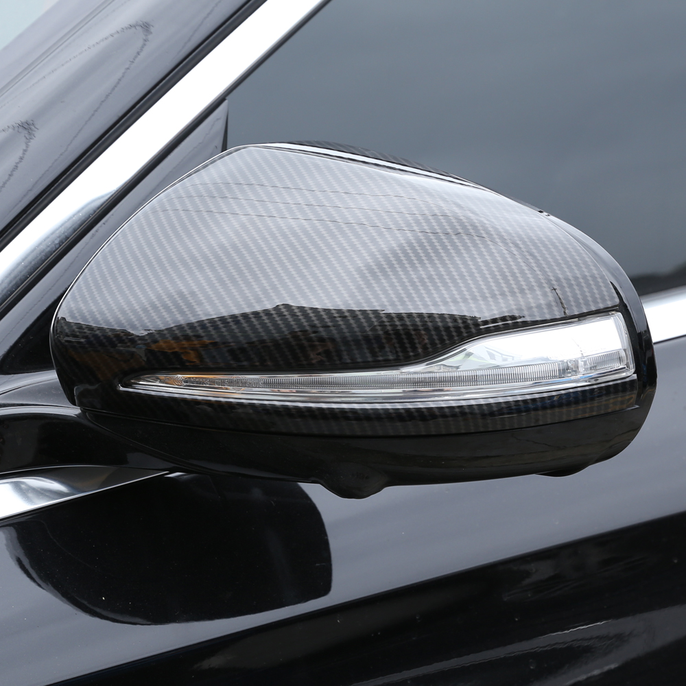 1 Pair Car Auto Carbon Fiber Side Rearview Mirror Cap Cover Trim for <font><b>Mercedes</b></font> Benz C/E/GLC/<font><b>S</b></font> <font><b>Class</b></font> W205 W213 X253 <font><b>W222</b></font> image