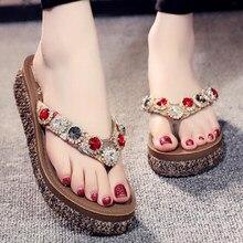 Sandalias de plataforma para mujer, chanclas de verano, zapatos informales de playa al aire libre, sandalias antideslizantes con diamantes de imitación, s188