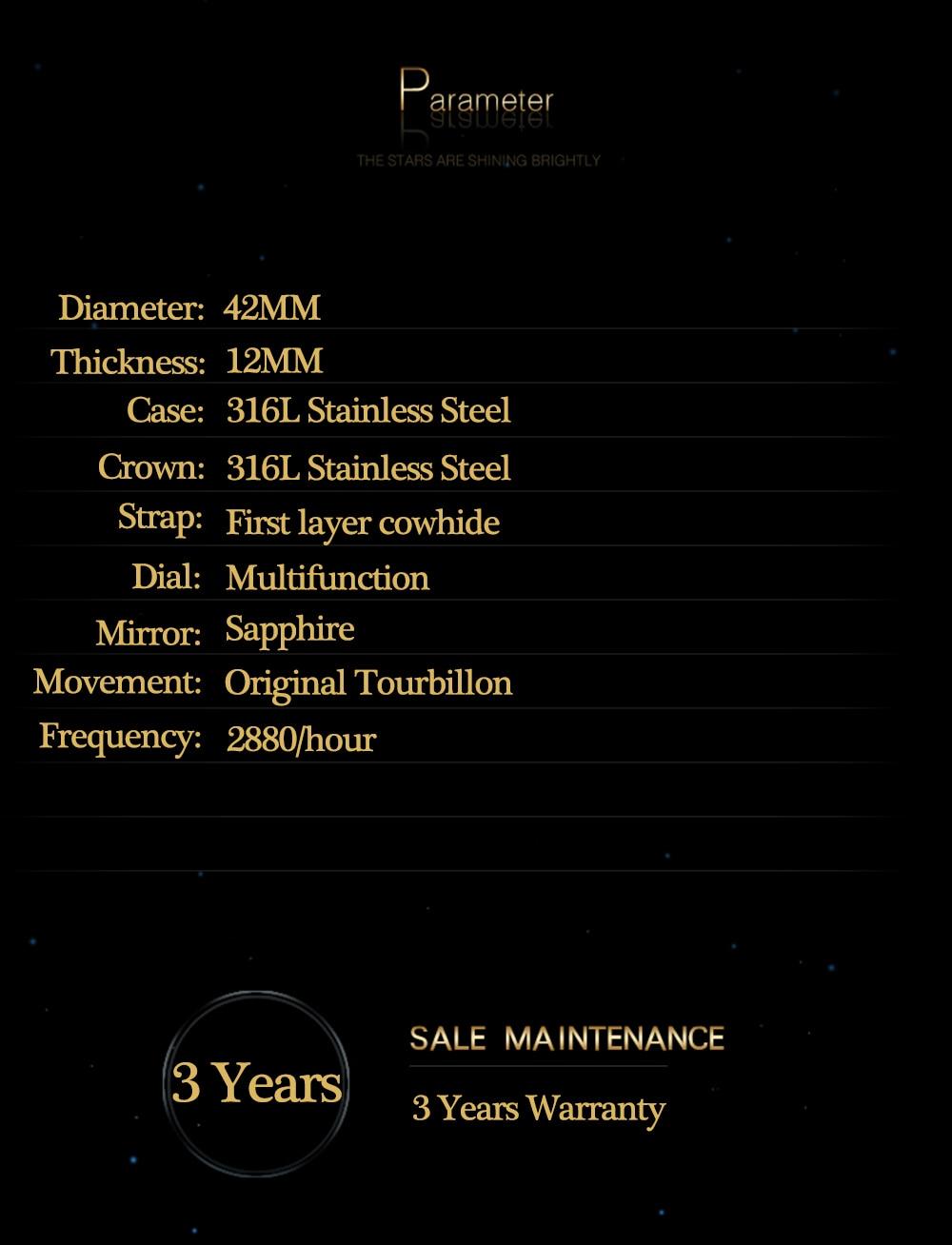 Guanqin 100% real tourbillon relógio mecânico masculino