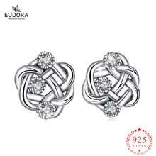Серьги гвоздики женские из серебра 925 пробы с фианитом