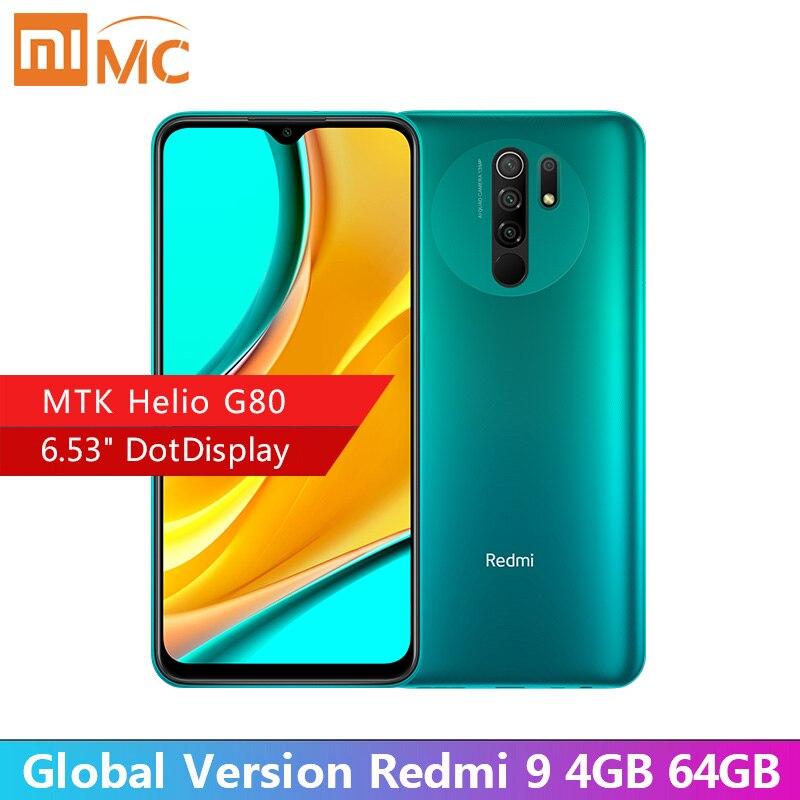 "Original Redmi 9 4GB 64GB Global Version Smartphone 6.53"" FHD+ Dot Drop Display Helio G80 Octa core 5020mAh AI Face Unlock(China)"